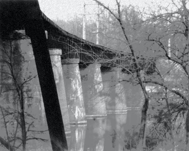 B&W Photo RR Bridge over Huron River