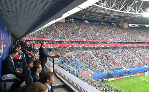 Vladimir Putin addressing the crowd at St Petersburg Stadium in June this year during the opening match of the Confederations Cup — seen as a a dress rehearsal for the 2018 World Cup. Photo: Kremlin.