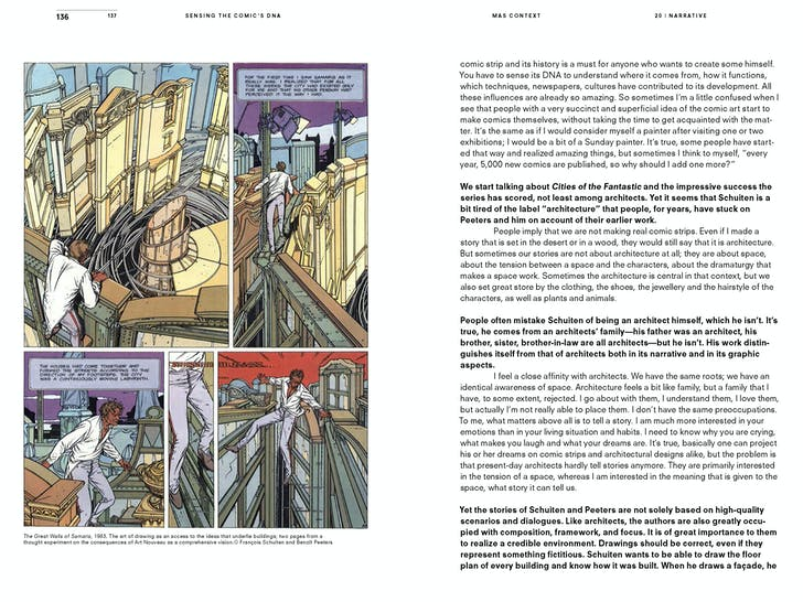 MAS Context Narrative. Sensing the Comic's DNA. Excerpts of a conversation with François Schuiten (spread) © MAS Context