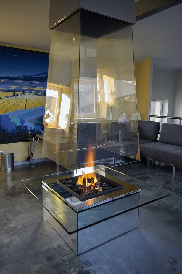 Bloch Design suspended glass fireplace 7