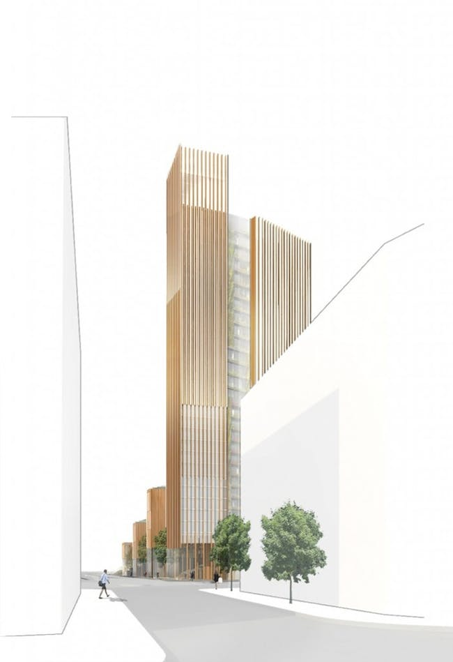 Architect Michael Green believes that increasing use of timber in construction will reduce the carbon footprint of large-scale buildings. Illustration- Michael Green Architecture
