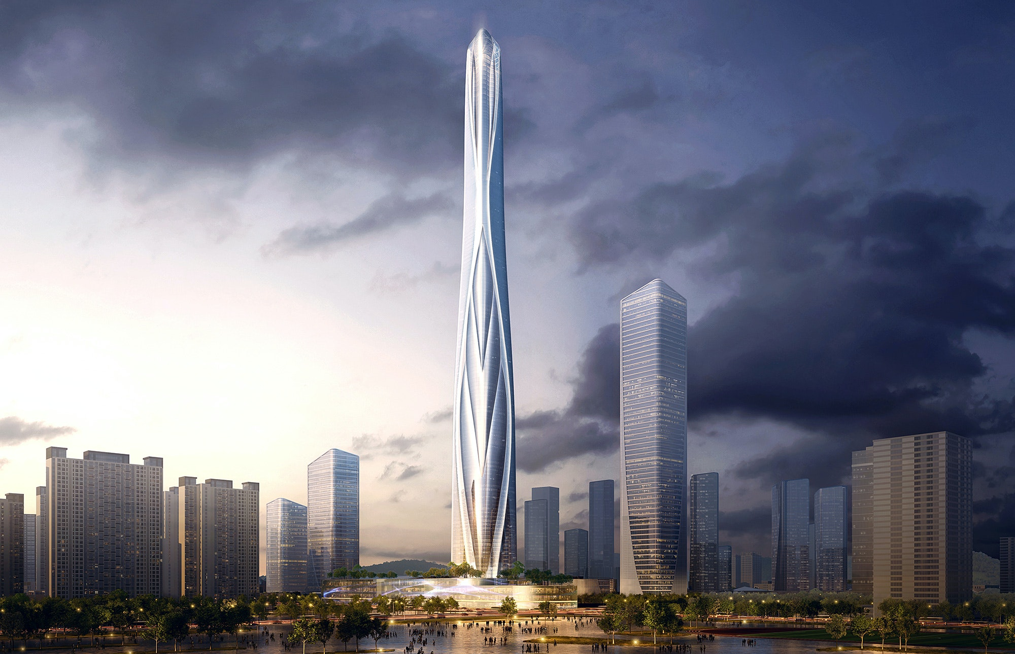 "Adrian Smith + Gordon Gill to design Shimao Shenzhen Longgang Master Plan and 700-meter ""anthropomorphic"" tower"