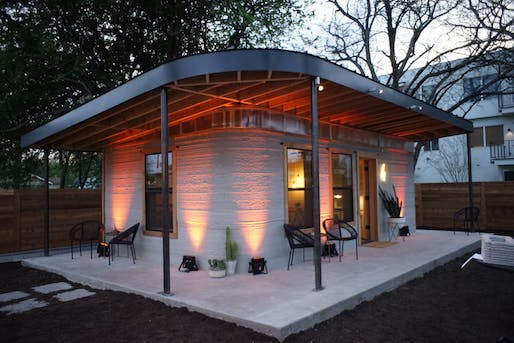 3D-printed house by ICON in collaboration with New Story, located in Austin, TX. Image: ICON.