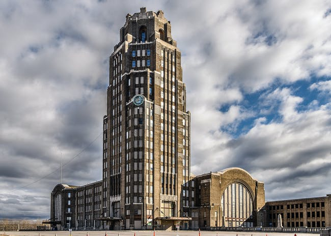 Buffalo Central Terminal, in Buffalo, New York, United States. The Buffalo Central Terminal complex includes an iconic Art Deco office tower, 2017. Photo: Joe Casico