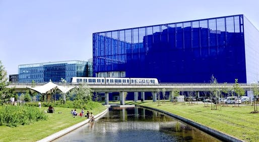 The DR Concert Hall, right, part of the new Danish photo by Copenhagen City and Port DevelopmentTV and radio complex, in the Orestad suburb of Copenhagen.