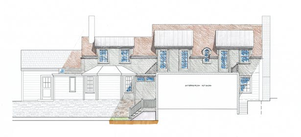 Rear Elevation Design Drawing; CAD drafted with Hand Rendering