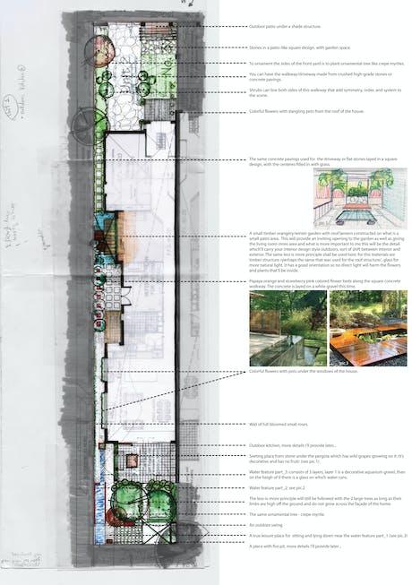 residential landscape design in Melbourn. sketch #2