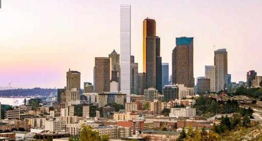 LMN Architects' rendering of the proposed Fourth and Columbia Tower in Seattle. Screenshot via KOMO News.