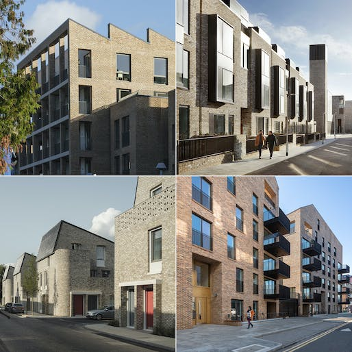 Clockwise from top left: Brentford Lock West Keelson Gardens © Tim Crocker; Eddington Lot 1 © Jack Hobhouse; The Colville Estate © Peter Landers; Goldsmith Street © Tim Crocker.