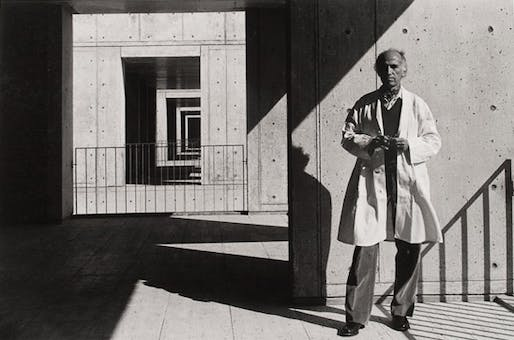 Jonas Salk—photographed at his eponymous institute in 1975—worked with Louis Kahn on the design of the nonprofit scientific research center