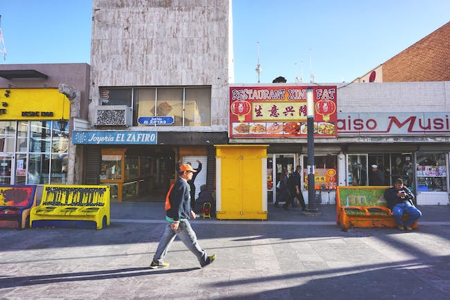 Street life and architecture in Juarez