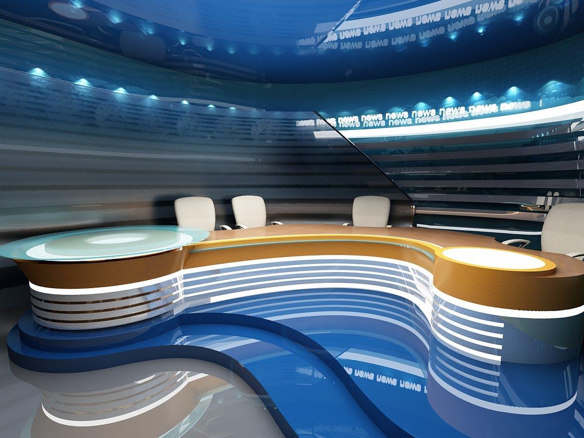 tv studio for  u0026quot news u0026quot  programme