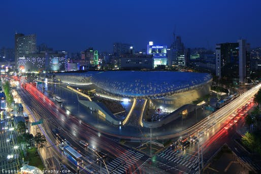 The Zaha Hadid Architects-designed Dongdaemun Design Plaza 'spaceship' hosts one of the biennale's flagship exhibitions. Photo: Eugene Lim/<a...