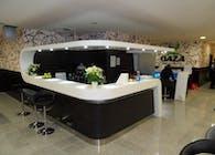 Interior design of entry hall with bar area in fitness center OAZA in BTC, Ljubljana