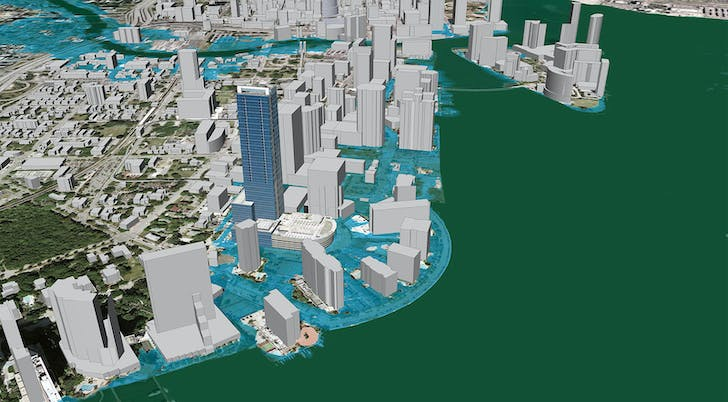 Inundation scenario in 2030 when sea level has risen one meter. Image: ©2007, Google, Inc and 2030, Inc, via Architecture2030.org