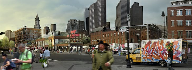 A competition proposal for Parcel 9 on the Greenway in Boston's Market District. Image courtesy Elizabeth Christoforetti.