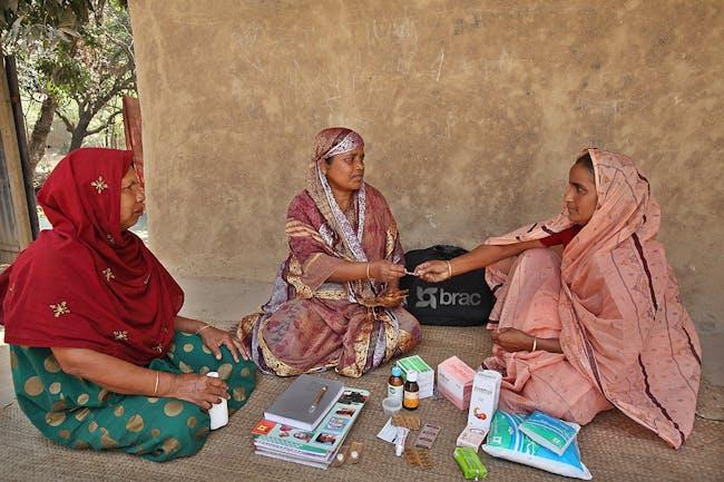 Shasthya Shebika (Health Volunteer) Kit: BRAC. Bangladesh, 1977-present. Medicine, sanitary napkins, delivery kit, soap, salt, registrar to maintain records, pictorial dosage instructions. Photo: © BRAC