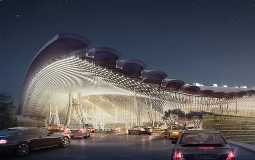 Proposal for Taiwan Taoyuan International Airport's new Terminal 3, designed by Rogers Stirk Harbour + Partners, Ove Arup and Partners Hong Kong Limited.