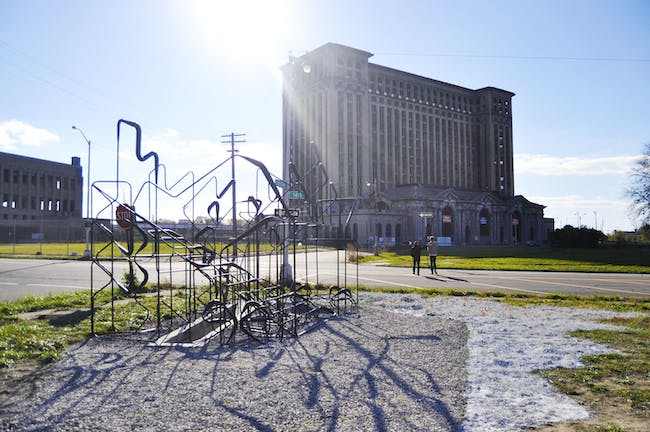 Empty Pavilion with Michigan Central Station in the background