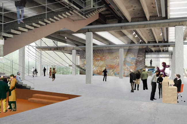 Garage Museum in Gorky Park, rendering of main hall. (Image © Garage Center for Contemporary Culture, Moscow. Image courtesy of OMA.)