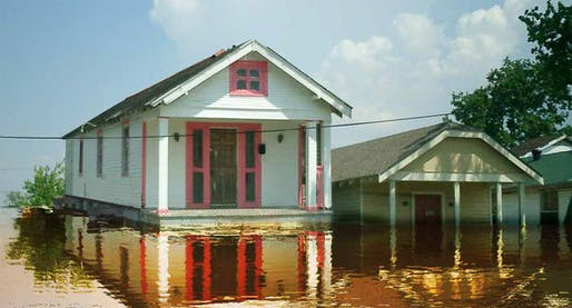 "Rendering of a New Orleans shotgun house with amphibious retrofit (details <a href=""http://buoyantfoundation.org/wp-content/uploads/2017/04/bfp.pdf"">here</a>). Image: Buoyant Foundation Project."