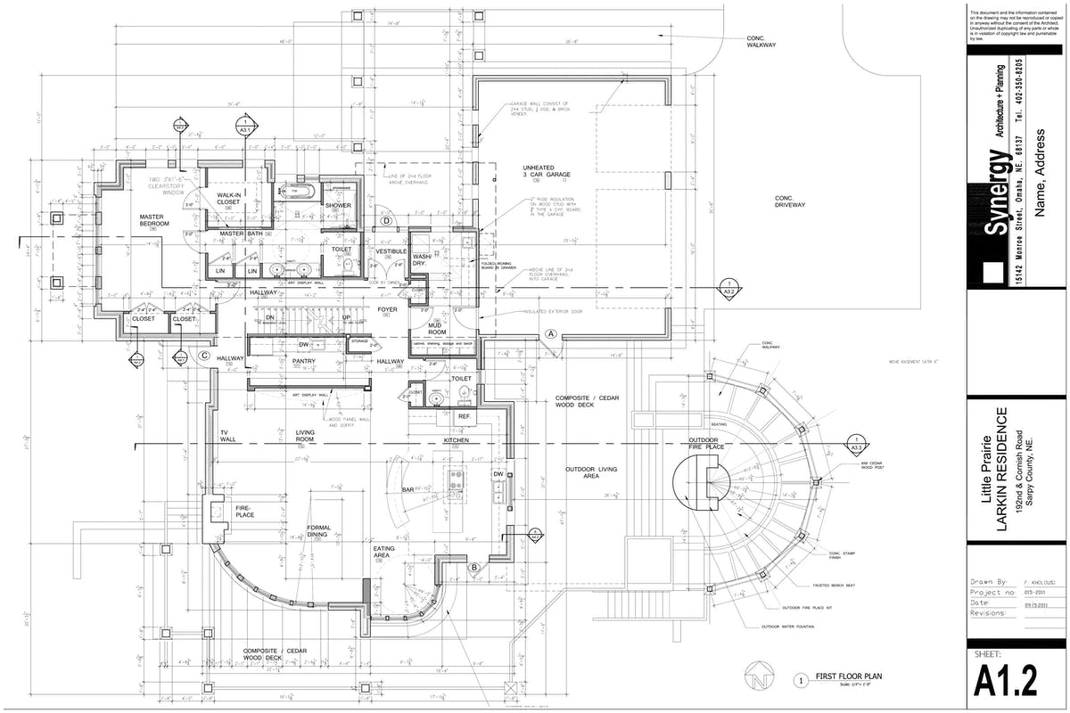 set of construction drawing for custom home synergy