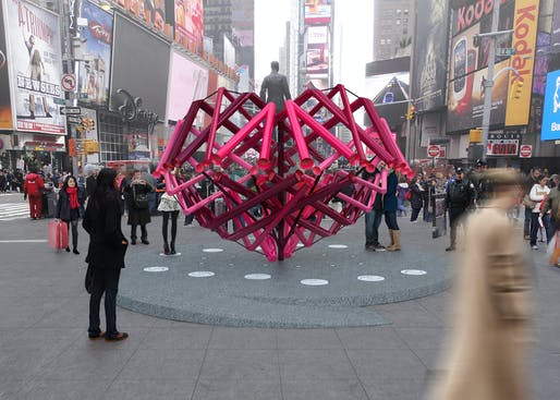 Young Projects - 'Match Maker'. Winner of the 2014 Times Square Heart Design. Image courtesy of 2014 Times Square Heart Design competition
