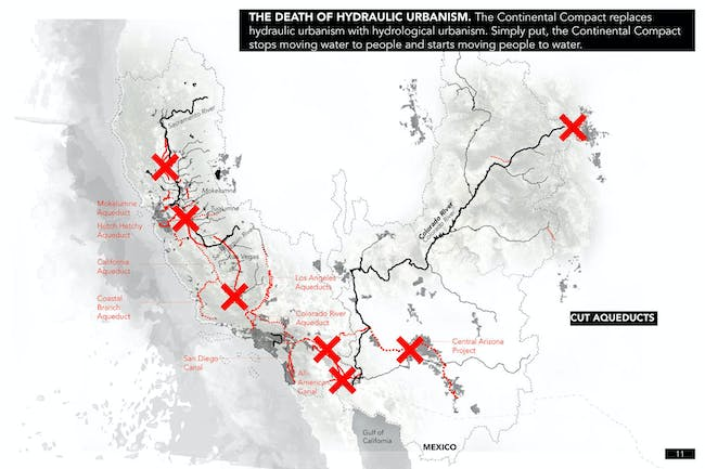 THE DEATH OF HYDRAULIC URBANISM. The Continental Compact replaces hydraulic urbanism with hydrological urbanism. Simply put, the Continental Compact stops moving water to the people and starts moving people to the water. Credit: the Continental Compact team.