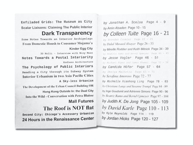 Table of contents, photo by Claudia Mainardi