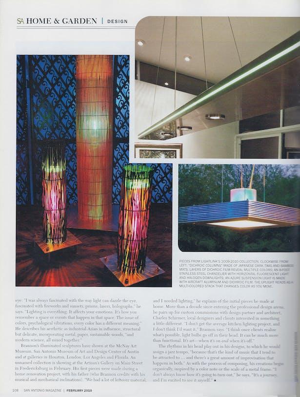San Antonio Mag - Light+Sound article - Feb 2010