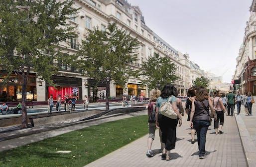 'Walkable London' exhibition rendering, Regents Street, London. Image: Zaha Hadid Architects.