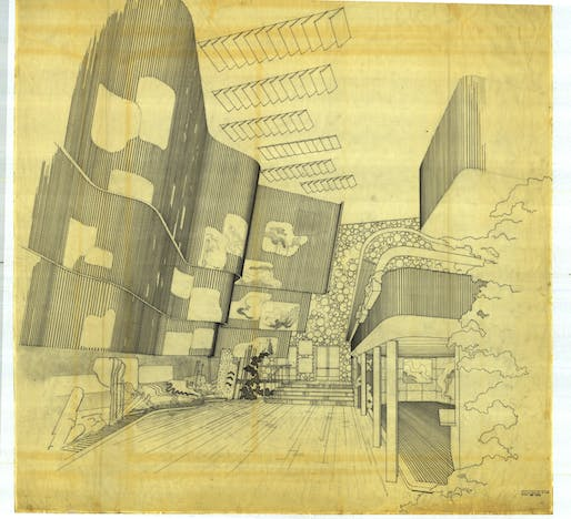 Drawing of Alar Aalto designed Finnish Pavilion at the New York World's Fair of 1939-40. Photo © Alvar Aalto Museum.