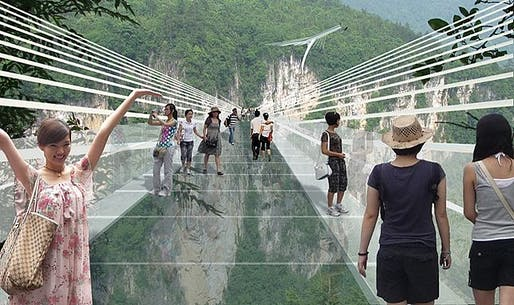 Rendering of the proposed glass-bottom bridge spanning across the Zhangjiajie Grand Canyon in China's Hunan province. (Image: Haim Dotan Ltd)
