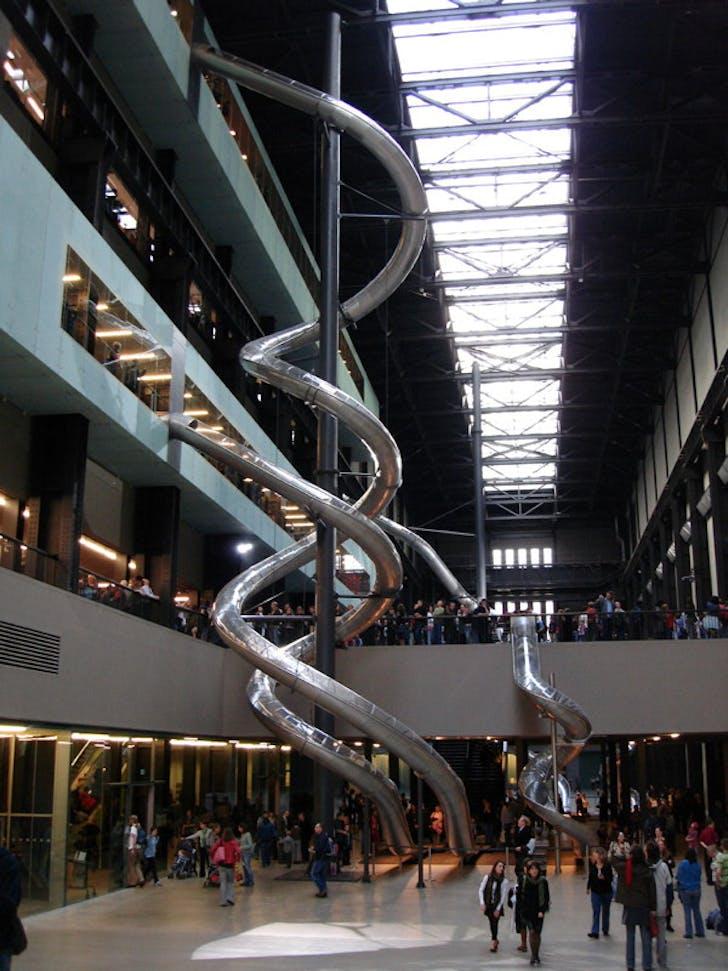 Carsten Höller's slide at the Tate Modern, courtesy of Hyperallergic.