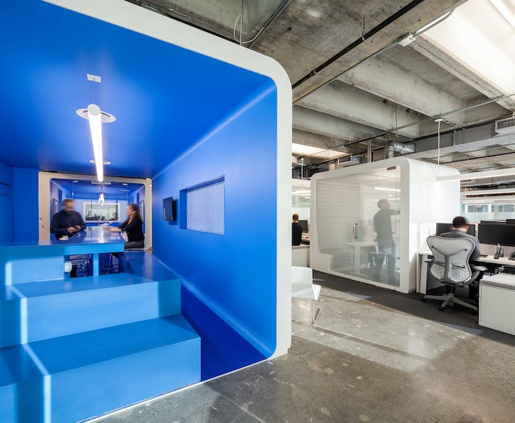 Freestanding, prefabricated office 'PODS' at the Clear Channel offices in Boston. Photo courtesy of Magda Biernat.