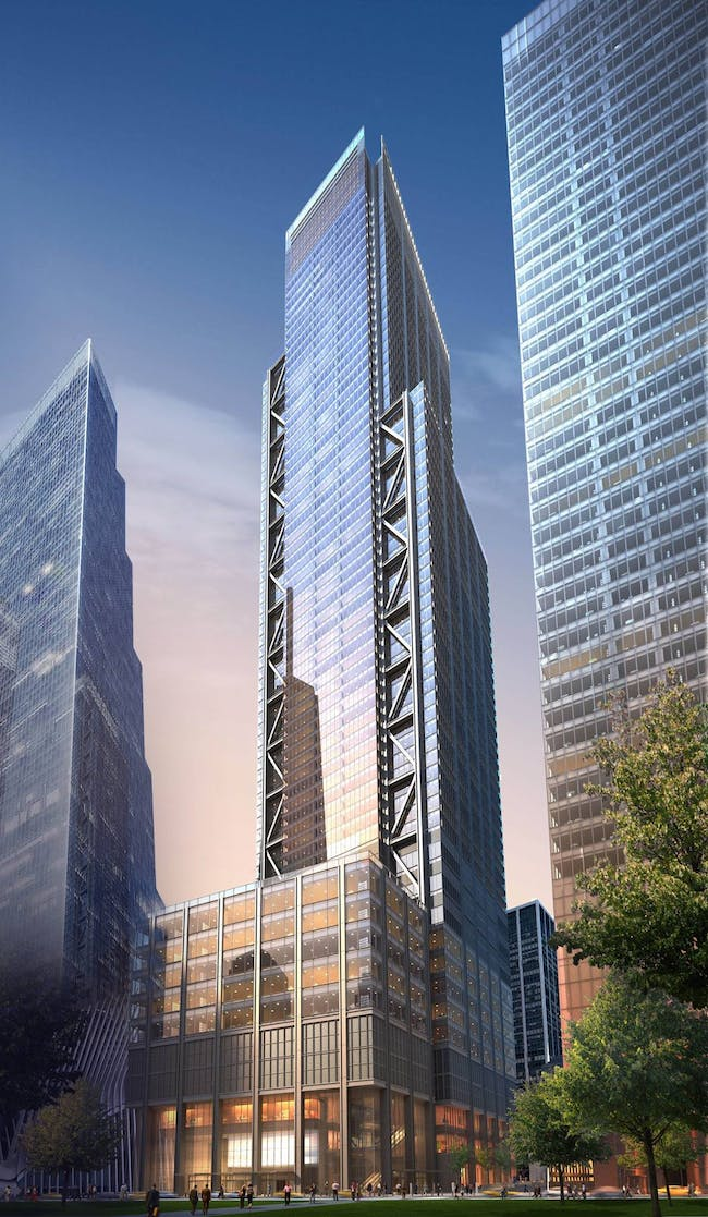 Rendering of what the completed 1,079-ft 3 WTC tower will look like. (Image: Silverstein Properties)