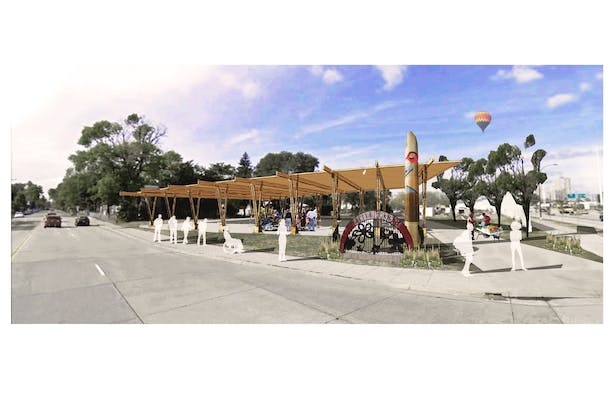 Perspective of Prominent Corner / Outdoor Public Activity Space