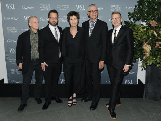(L-R) Roni Horn, Benjamin Gilmartin, Elizabeth Diller, Ricardo Scofidio and Charles Renfro the WSJ. Magazine 2017 Innovator Awards at MOMA on November 1, 2017 in New York City. (Photo by Craig Barritt/Getty Images for WSJ. Magazine 2017 Innovator Awards)