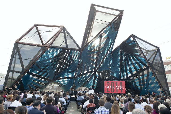 The school's graduation pavilion, designed by Marcelo Spina and Georgina Huljich of PATTERNS, features an intricate system of textiles wrapped around the steel frame, shielding the audience from the intense Southern California sun. Image courtesy of SCI-Arc.