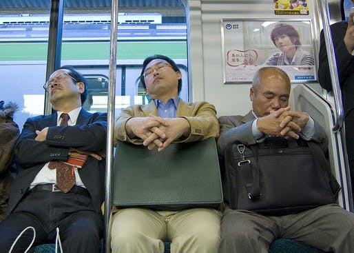 'Inemuri,' or the practice of sleeping on the job, is enshrined in workplace culture in Japan. Credit: Wikipedia