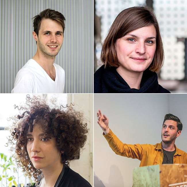 Design Museum's Designers in Residence 2015 (Clockwise from top left): Chris Green, Stephanie Hornig, Hefin Jones, Alex Pollmann