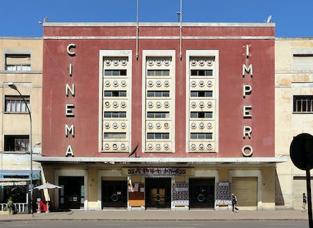 Mario Messina's Cinema Impero building in Asmara, Eritrea. Image via WikimediaCommons.