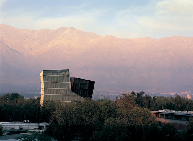 Siamese Towers, 2005, San Joaquín Campus, Universidad Católica de Chile, Santiago, Chile, University classrooms and offices. Photo by Cristobal Palma. Courtesy of ELEMENTAL.