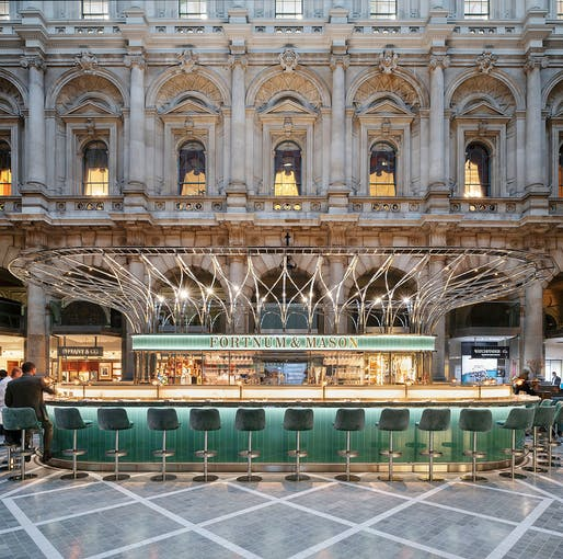 The Fortnum's Bar and Restaurant at The Royal Exchange in London, UK by Universal Design Studio © Andrew Meredith.