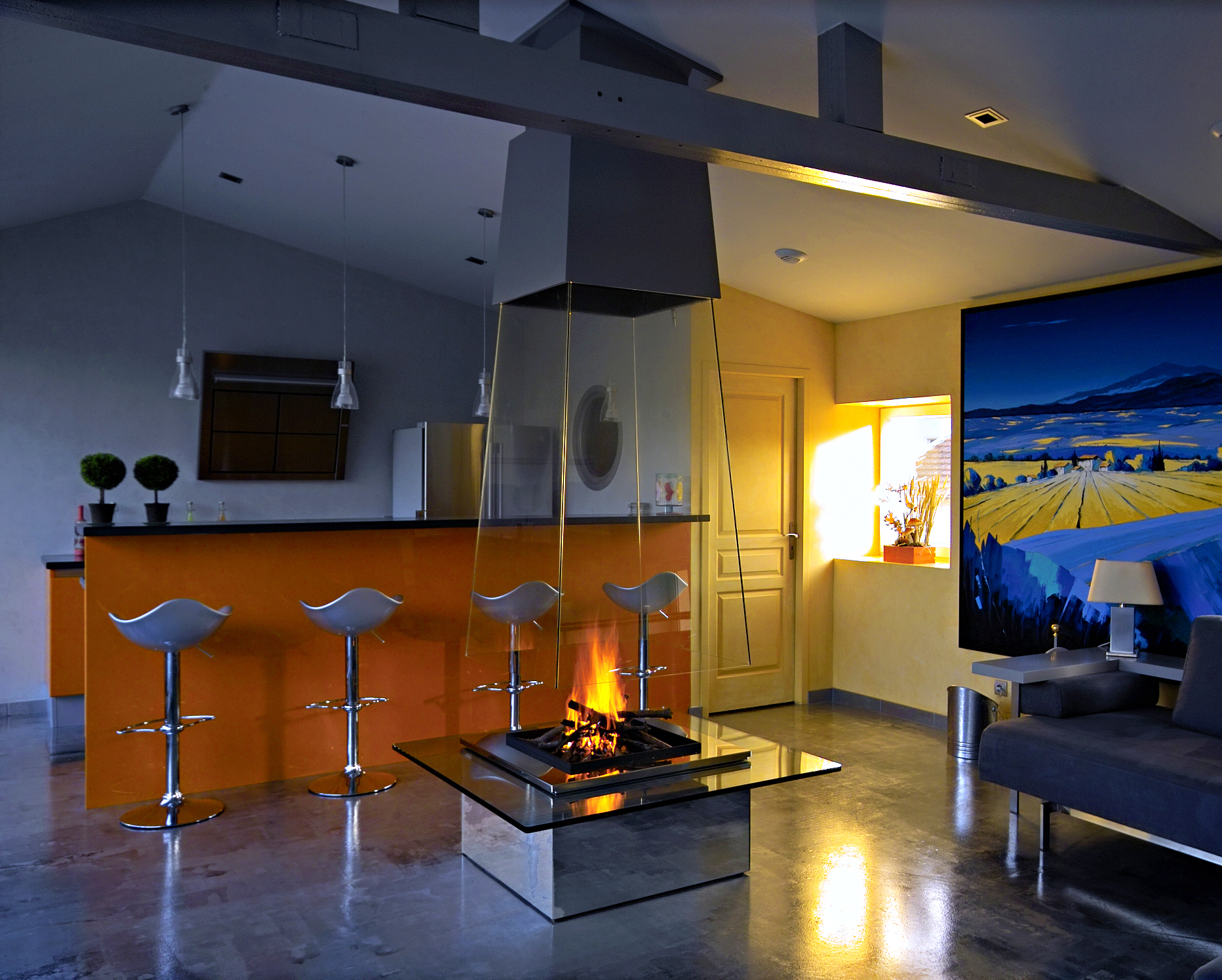 Pyramidal free hanging glass fireplace | BLOCH DESIGN | Archinect
