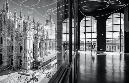 Sense of Place — Project: The Piazza Duomo from the Arengario Balconi of the Palazzo dell'Arengario, Museo del 900 in Milan, Italy by Italo Rota and Fabio Fornasari. Photographer: Marco Tagliarino