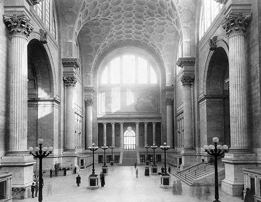 The main waiting room at the original Penn Station, designed by McKim Mead & White. Image via Wikipedia.