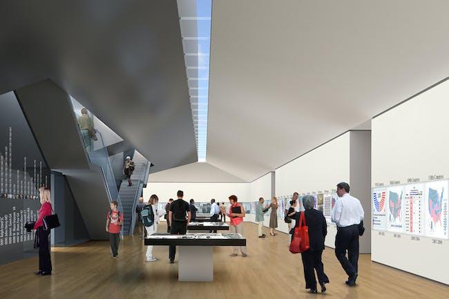 Exhibit interior rendering. Courtesy EMK Institute.
