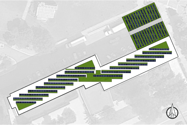 PROPOSED LAYOUT FOR EXISTING LOADING/UNLOADING ROOF SHOWING PROPORTIONS OF GREEN AND SOLAR PANELS