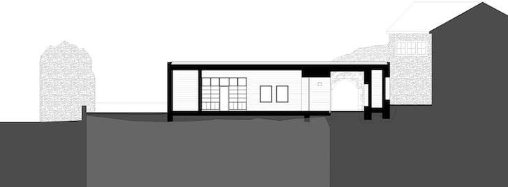 Longitudinal section of visitor center